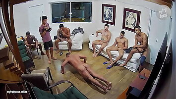 Hidden cameras in a house full of muscle guys