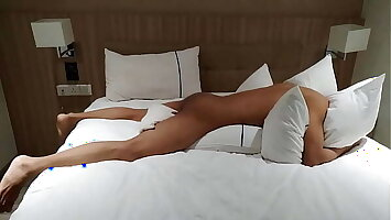 Horny boy doesn't want to get out of hotel bed