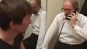 Bearded grandpa fucks 2 twinks in guest-house