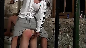Twink loves punishment with dildo in ass after peeing first